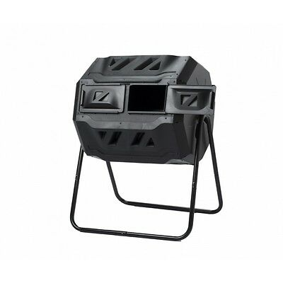 160L Twin Chamber Tumbler Rotating Compost Bin Composter Garden Waste Recycle