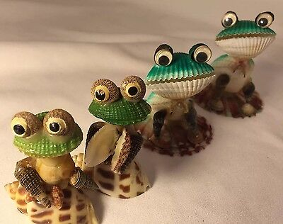 4 SEA SHELL FROGS Lot Craft Pattern Fun Moneymaker Whimsical Frog