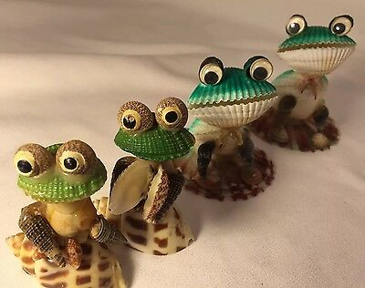 4 Vintage SEA SHELL FROGS Family Craft Pattern Fun Moneymaker Whimsical Frog