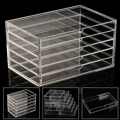 5 layer Clear Acrylic Cosmetic Organizer Makeup Storage Display Drawers Case
