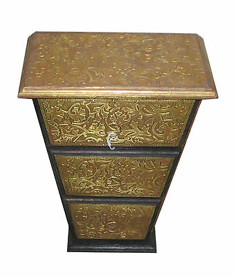 Triangular Shape Wooden And Brass Carving Work 3 Box Cabinet