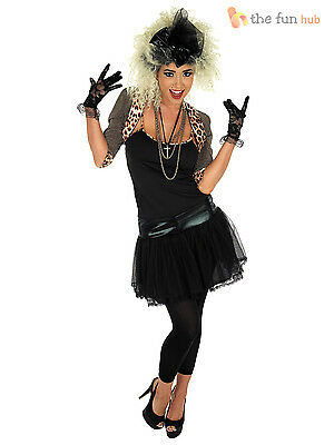 Ladies 80s Pop Star Costume Wild Child Fancy Dress Womens Outfit Adult Plus Size