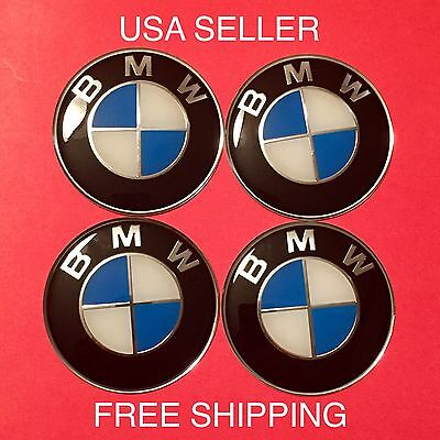 BMW 4Pcs Black/Blue 65mm Domed Car Emblem Badge Wheel Center Cap Decals Stickers