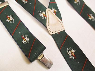 Vintage 90's Mens Braces Trouser Suspenders Green Polo Club Horse Pattern