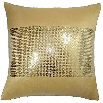 Catherine Lansfield gold Silk Sequin cushion cover
