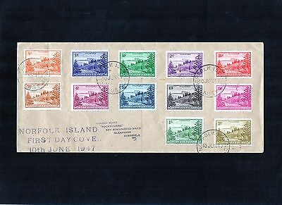 1947 Norfolk Island Ball Bay Set Of 12 Addressed Long Cover To UK, Good Cond