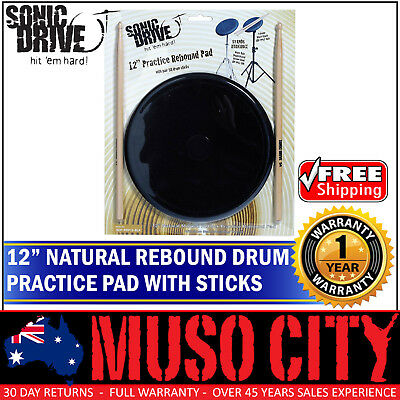 "New Sonic Drive 12"" Natural Rebound Drum Practise Pad Sticks Set for Beginner"