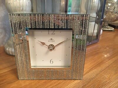 Silver Glitter Sparkle Mode Bling Contemporary New Mantle Clock Gift