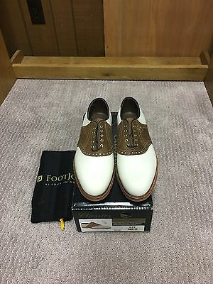 """FootJoy Classics 10.5D """"Spikeless"""" Brown/White Saddle Golf Shoes"""
