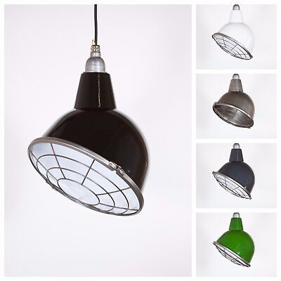 OULTON WITH CAGE - Factory Enamel Ceiling Pendant Light - Vintage Industrial