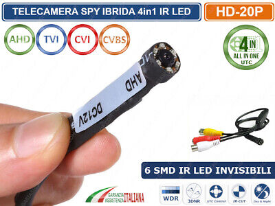 MICRO MINI TELECAMERA SPY AHD  3.7mm 6 IR LED INVISIBILI 1200TVL 1 MPX 720P UTC