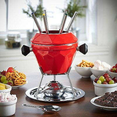 VonShef 'Diamond' Fondue Gift Set with 6 Forks - Red Enamelled Cast Iron -1.3L