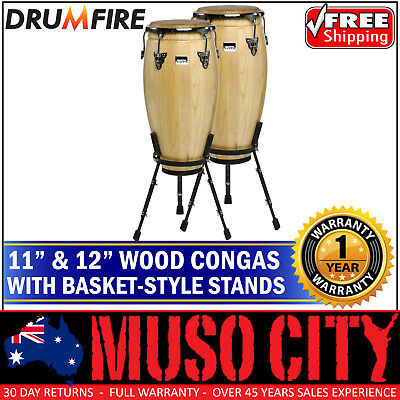 New Drumfire Wood Congas with Basket Style Stands Bongo Hand Drum Percussion