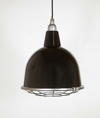 STOURTON WITH CAGE - Factory Enamel Ceiling Pendant Light - Vintage Industrial