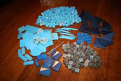 Vintage 1980's Fisher Price Construx Building Toy approx. 250 Blue Pieces