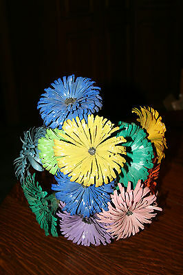 Handcrafted ? Bouquet of Flowers made of Wood Strips on Wires Table Decor