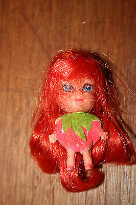 "Vintage Soda Doll Soft Rubber type Tiny Strawberry Dress Red Hair 2"" High"