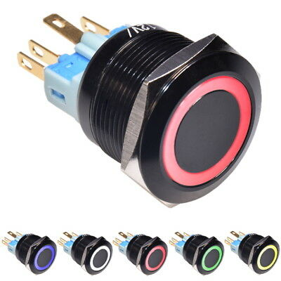 22mm Stainless Ring 12V LED Spring Latching Push Button Switch Red Blue Green