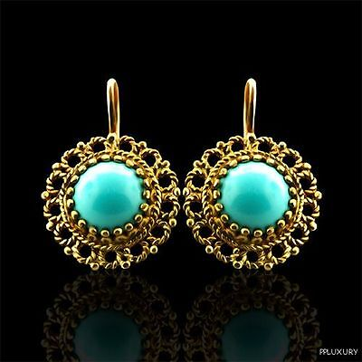 Vintage Style 14K Yellow Gold Round Turquoise Earrings