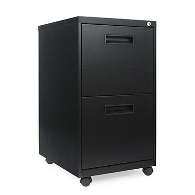 Alera Two-Drawer Metal Pedestal File, 14 7/8w x 19-1/8d x 27-3/4h, Black