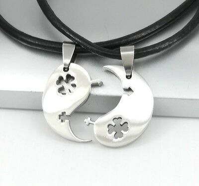 Silver Yin Yang Sex Symbol Celtic Clover Pendant Lovers Couple Leather Necklace