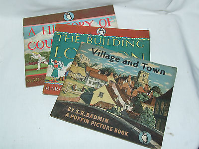 3 x Penguin Puffin Picture Books 16 37 & 42 Village & Town, London, Countryside