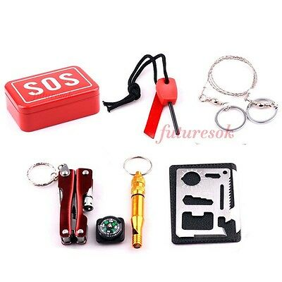 SOS Emergency Survival Box Kit First Aid Outdoor Sport Camping Hiking Self Help