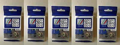 5 TZe131 12mm Black on Clear TZe131 Label Tape for Brother P-touch 1/2'' TZ131