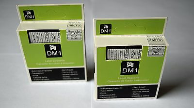 "2 DYMO D1 12mm x7m 45010 COMPATIBLE TAPES BLACK on CLEAR  ½"" x 23' STANDARD"