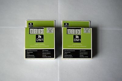 "2 DYMO D1 45010 12mm x7m COMPATIBLE TAPES BLACK on CLEAR  ½"" x 23' STANDARD"