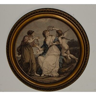 Framed Antique Hand Tinted Print of a Maiden and Cupid