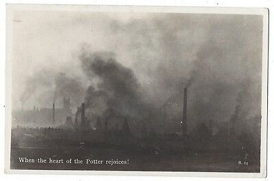 STOKE ON TRENT When the Heart of the Potter Rejoices, Pollution, Old RP Postcard