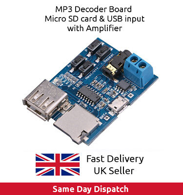 TF, SD card USB disk MP3 Decoder Board Module Amplifier Decoding Audio Player.UK