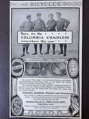 Antique 1900 Ad (E18)~Columbia   Bicycle. American Bicycle Co. Hartford, Conn.