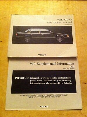 1992 Volvo 960 Owners Manual.