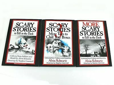 3 Book Set: SCARY STORIES to Tell in the Dark 1 2 & 3 by Alvin Schwartz Children