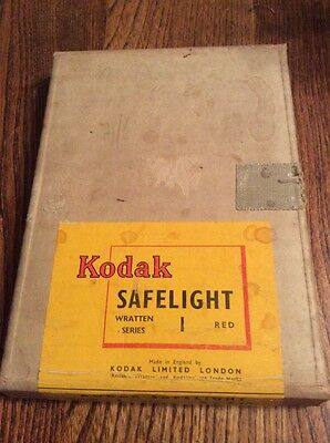 "Vintage Kodak Safelight Filter, Wratten Series 1 Red, 5"" x 7"", Darkroom"