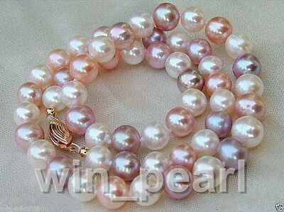 Genuine 8-9mm Natural Multicolor Freshwater Cultured Pearl Necklace 18''