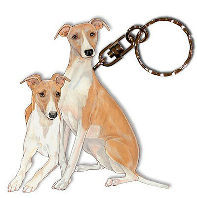 Whippet Keychain Key Ring Wooden