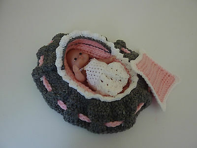 """Handcrocheted """"baby Doll Cradle Purse"""""""