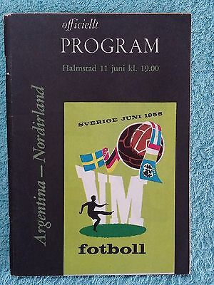 1958 - ARGENTINA v NORTHERN IRELAND PROGRAMME - WORLD CUP