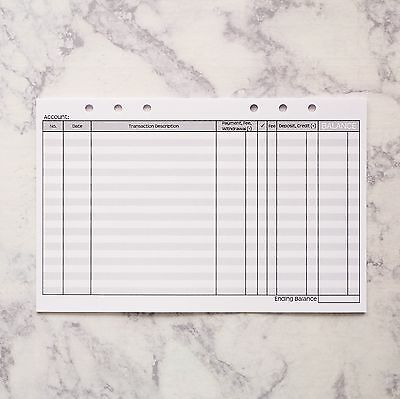 Check Register Planner Inserts for Filofax A5 or Kikki K