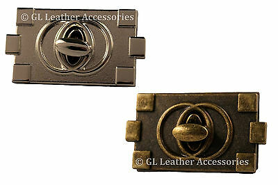 Rectangular Metal Purse Bag Twist Turn Lock 2 Colors