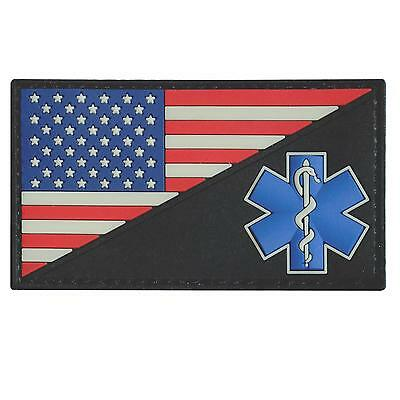 American USA flag Star of Life EMS EMT PVC patriotic rubber fastener patch