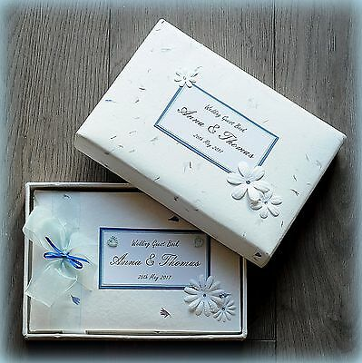 Luxury Personalised Wedding/ Birthday/ Christening Guest Book/ Handmade Boxed