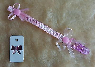 Reborn Baby Doll Dummy/Pacifier Clip, Bows, Girly, Stocking Filler, FREE P&P