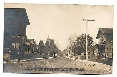 RPPC Church Street LACEYVILLE PA Wyoming County Pennsylvania Real Photo Postcard