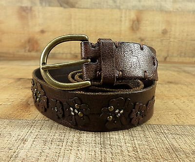 Abercrombie Leather Belt Girls Applique Studs Bling Flower Brown S M 30 32