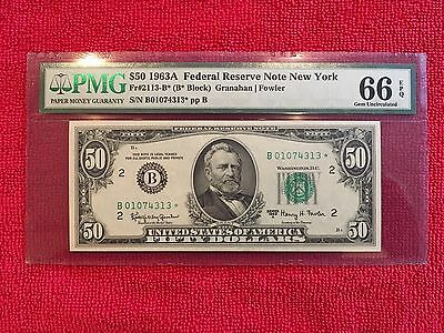 1963A Fr-2113-B* $50 Frn  Star Note Pmg 66 Epq...beautiful Early Replacement**