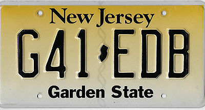 Authentic New Jersey Garden State Embossed License Plate # G41 Edb Bcplateman